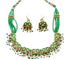 Indian lac costume jewellery necklace and earrings from Venkatraman Jewels of Jaipur India.