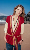 RED SHORT SLEEVE REVERSED FAIRISLE BELTED CARDIGAN