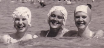 50's Bathing hats - textured swimming caps worn as protection for 1950s hairstyles.