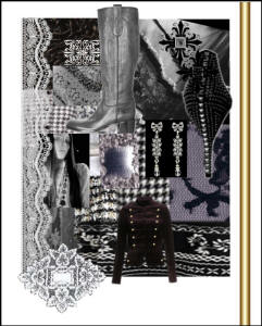 Mood board - A simple black and white palette relying on texture contrast of lace against velvet against satin against knit.