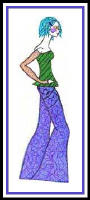 Fashion sketch of girl in purple flared trousers.