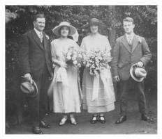 1921 Wedding photograph of bride, husband , bridesmaid and best man. and Family