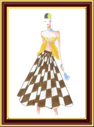 Volume skirt in op art print fashion drawing by Carrrie