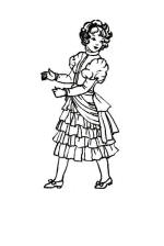 1885 Young girl in frilled bustle dress costume drawing