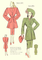 c1948  Fashion Designs - Sewing Pattern Cutting Drafts 2 - 3015 and 3016