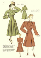 c1948  Fashion Designs - Sewing Pattern Cutting Drafts 3023 and 3024