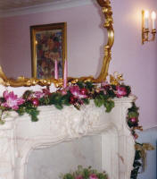 Louis Style Fireplace Decorated with Festive Evergeen Swag