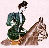 Picture of lady horse rider. Fashion history of sports wear.