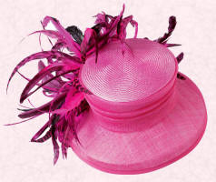 Pari-sinamay with chinchilla coque feathers, fuchsia hat is �195 and available from May at John Lewis.
