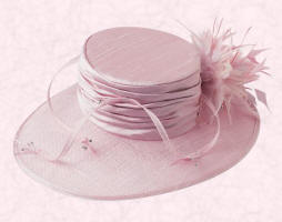 This Silk crown with Sinamay east to west brim, feathers and diamant� is in shimmer pink and is available from March at �175.