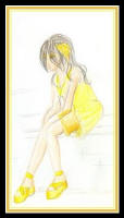 Fashion drawing of a woman in yellow short dress.