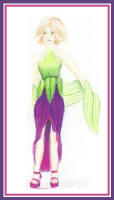 Fashion drawing of a woman in green top and purple skirt.