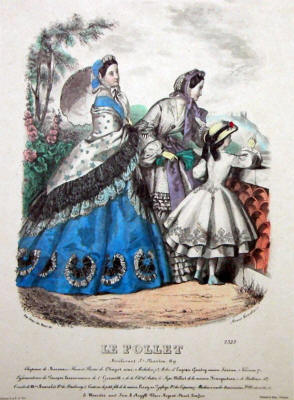 Le Follet Reproduction Plate.  This 'aged' reproduction image is courtesy of alldressforms