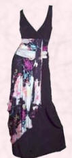 This black and print sash/swathe designer evening dress right is by Christian Lacroix and is also from www.mohina.com