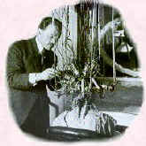 Picture of Charles Nestle using an electric wave machine on a woman's hair.