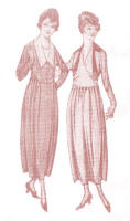 Dresses of 1918 with Deep Pointed Collars and V Necks