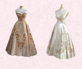 Satin dresses embroidered with gold, diamant� and pearls by Norman Hartnell