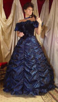 Taffeta and Velvet  Gown in Navy