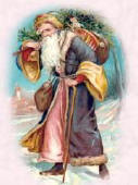 Older Picture of Father Christmas Wearing Blue Robe