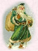 Older Picture of Father Christmas Wearing Green Robe