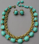 Fashion-era picture of Haskell turquoise costume jewellery pieces from Glitterbug