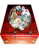 Picture of Shoebox wonderland scene made of Christmas cards.