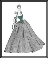 Fashion drawing of woman in a full skirted ball gown and bustier style bodice. out midriff section.