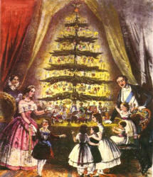 Victoria and Albert & family around a candle lit Christmas tree.