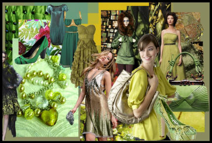 Mood Board Autumn Winter 2007/8 - Green fashion tones range from sea green and jade to citrus, chartreuse and moss.   Dusty citrus lime tones are especially popular hues this autumn.