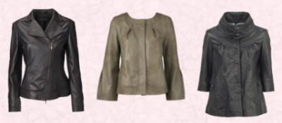 Left - John Lewis - Betty Barclay leather Biker jacket; Middle - Dorothy Perkins Taupe Leather Jacket - �120; River Island leather Jacket �120.00/�201.50.