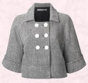 The basic shape similar to this short grey jacket from the John Lewis autumn 2007/8 range has been used for a wide range of short cropped trench Macs and tailored jackets.