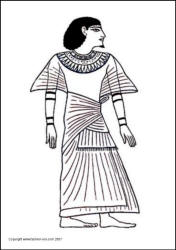 Ancient Egyptian King - Scribe Ani costume coloring-in picture. Line Drawing