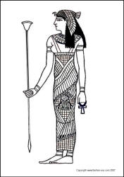 Egyptian Goddess - colouring in costume picture line drawing sketch