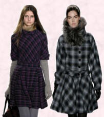 Marc Jacobs check dress and plaid wool coat with silver fox collar Carolina Herrera - fall 2007/8