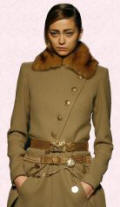 Gaultier coat - Military rich touches are created by golden ornamental frog fastenings or golden brass toned metal buttons.