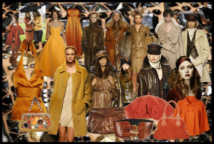 Mood board showing golden tans and rich terracotta colour for autumn 2007 and winter 2008.