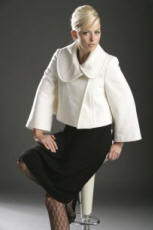 White Wide Collar Cropped Jacket - Internacionale - 2007 Fashion History.
