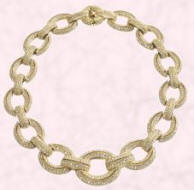 This large chain link pave stone-set collar necklace is from John Lewis and priced at �499.