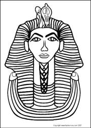 King Tut Gold Mask - Ancient Egyptian King - King Tutankhamun Colouring-in Picture Line Drawing