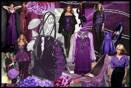 Autumn Winter 2007/8 Purple Mood Board -  Purple is now a key colour in the Fall 2007/8 fashion colour palette.