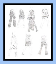 Working fashion designing sketches of 11 year old girl