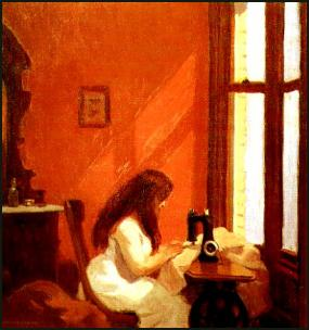 Girl at Sewing Machine (c.1921) Edward Hopper Painting