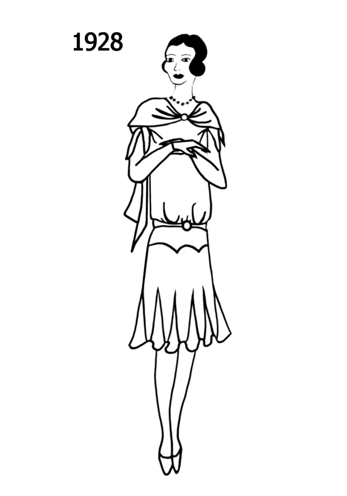 costume history silhouettes 19281929 free line drawings