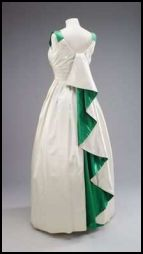 The Queen's White  & Green Gown Designed by Norman Hartnell for India and Pakistan 1961.