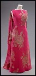 The Queen's fuchsia evening dress designed by Norman Hartnell