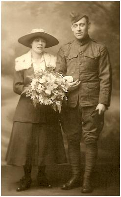 Wedding 2 American Soldier and his Bride 1919