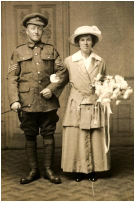 A Canadian Machine Gun Corps sergeant with his new bride in York, Yorkshire, England - c1919.