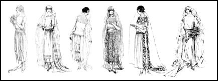 Bridal dress styles below date from 1920 to 1923