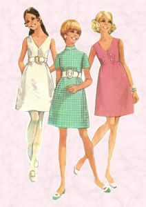 1969 Fashions on fashion-era. Dress patterns of the era followed an A line style or were frequently empire line baby doll garments like these shown right.