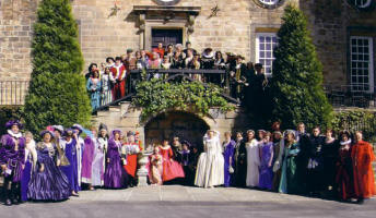 Elizabethan and Tudor Themed Fancy Dress Wedding Group Picture